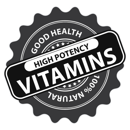 multivitamin: Black High Potency Vitamins, Good Health, 100 Percent Natural Icon, Label, Sticker, Stamp or Badge Isolated on White Background