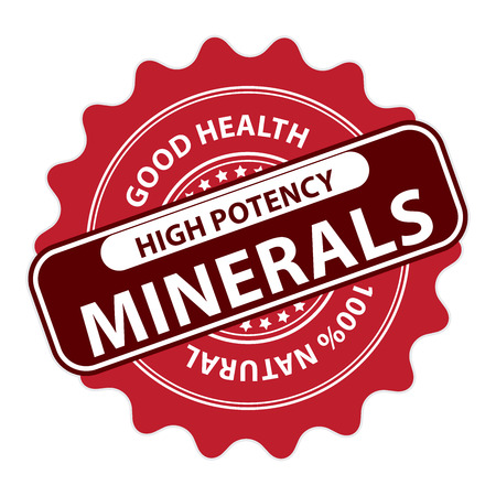 potency: Red High Potency Minerals, Good Health, 100 Percent Natural Icon, Label, Sticker, Stamp or Badge Isolated on White Background