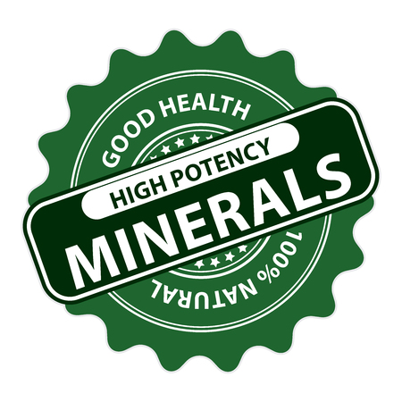 potency: Green High Potency Minerals, Good Health, 100 Percent Natural Icon, Label, Sticker, Stamp or Badge Isolated on White Background