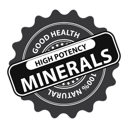 potency: Black High Potency Minerals, Good Health, 100 Percent Natural Icon, Label, Sticker, Stamp or Badge Isolated on White Background Stock Photo