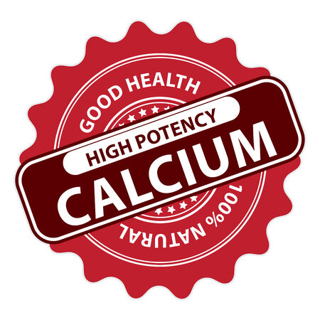 Red High Potency Calcium, Good Health, 100 Percent Natural Icon, Label, Sticker, Stamp or Badge Isolated on White Background photo