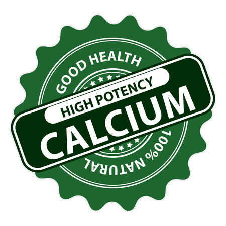 Green High Potency Calcium, Good Health, 100 Percent Natural Icon, Label, Sticker, Stamp or Badge Isolated on White Background Stock Photo