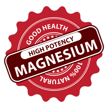 supplementary: Red High Potency Magnesium, Good Health, 100 Percent Natural Icon, Label, Sticker, Stamp or Badge Isolated on White Background
