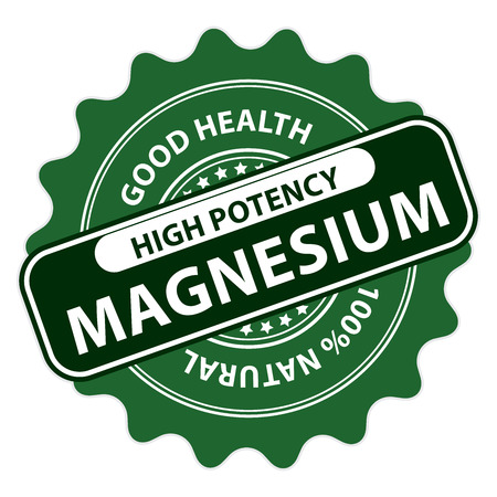 potency: Green High Potency Magnesium, Good Health, 100 Percent Natural Icon, Label, Sticker, Stamp or Badge Isolated on White Background