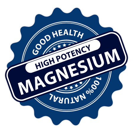 potency: Blue High Potency Magnesium, Good Health, 100 Percent Natural Icon, Label, Sticker, Stamp or Badge Isolated on White Background