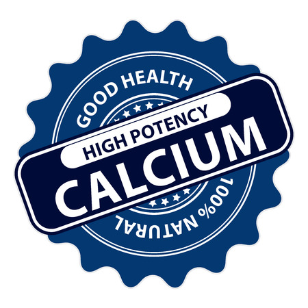 Blue High Potency Calcium, Good Health, 100 Percent Natural Icon, Label, Sticker, Stamp or Badge Isolated on White Background