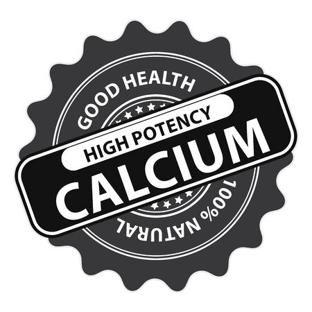 food absorption: Black High Potency Calcium, Good Health, 100 Percent Natural Icon, Label, Sticker, Stamp or Badge Isolated on White Background