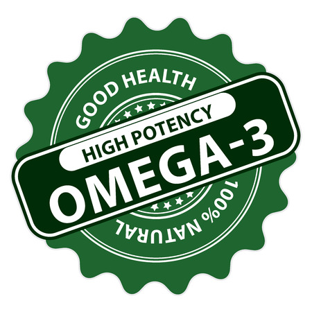 potency: Green High Potency Omega-3, Good Health, 100 Percent Natural Icon, Label, Sticker, Stamp or Badge Isolated on White Background