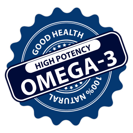 omega3: Blue High Potency Omega-3, Good Health, 100 Percent Natural Icon, Label, Sticker, Stamp or Badge Isolated on White Background