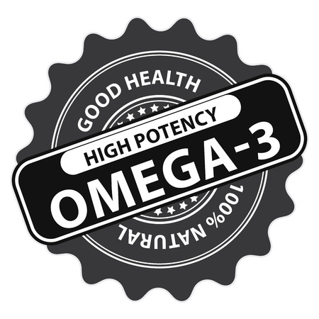 omega3: Black High Potency Omega-3, Good Health, 100 Percent Natural Icon, Label, Sticker, Stamp or Badge Isolated on White Background