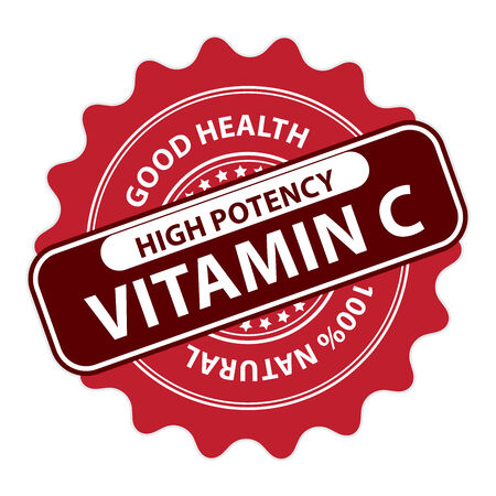 potency: Red High Potency Vitamin C, Good Health, 100 Percent Natural Icon, Label, Sticker, Stamp or Badge Isolated on White Background