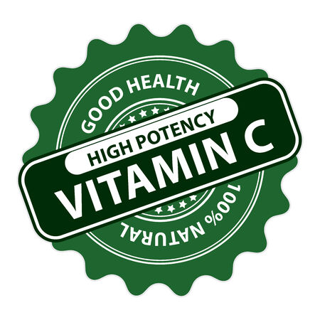 potency: Green High Potency Vitamin C, Good Health, 100 Percent Natural Icon, Label, Sticker, Stamp or Badge Isolated on White Background Stock Photo