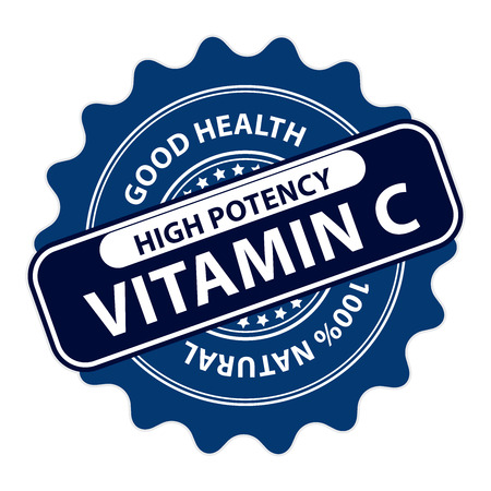 potency: Blue High Potency Vitamin C, Good Health, 100 Percent Natural Icon, Label, Sticker, Stamp or Badge Isolated on White Background