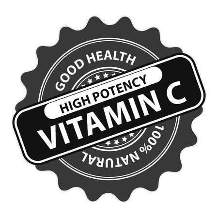 potency: Black High Potency Vitamin C, Good Health, 100 Percent Natural Icon, Label, Sticker, Stamp or Badge Isolated on White Background Stock Photo