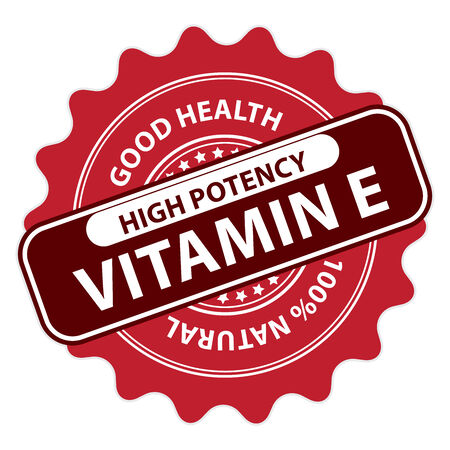 vitamine: Red High Potency Vitamin E, Good Health, 100 Percent Natural Icon, Label, Sticker, Stamp or Badge Isolated on White Background