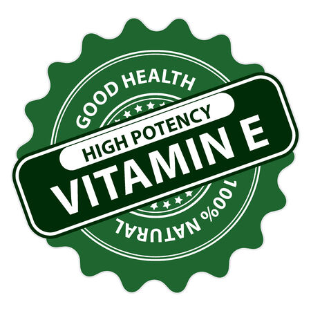 vitamine: Green High Potency Vitamin E, Good Health, 100 Percent Natural Icon, Label, Sticker, Stamp or Badge Isolated on White Background