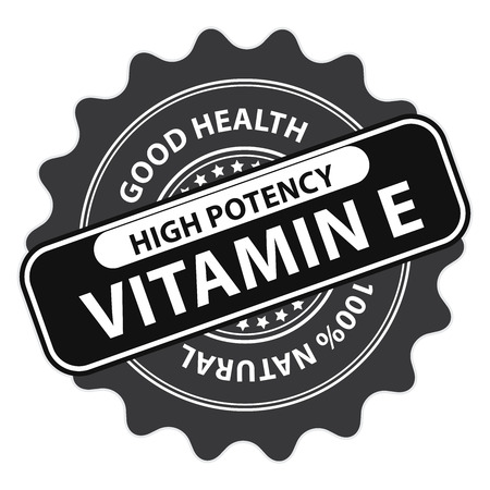 potency: Black High Potency Vitamin E, Good Health, 100 Percent Natural Icon, Label, Sticker, Stamp or Badge Isolated on White Background Stock Photo