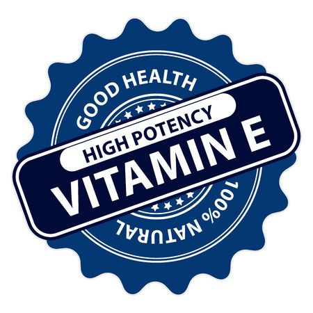 Blue High Potency Vitamin E, Good Health, 100 Percent Natural Icon, Label, Sticker, Stamp or Badge Isolated on White Background