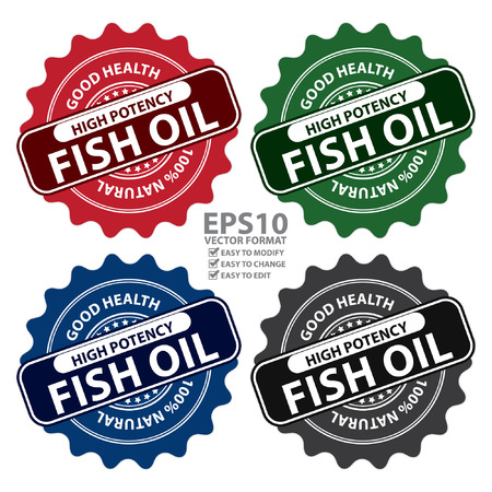 Vector : Colorful High Potency Fish Oil, Good Health, 100 Percent Natural Icon, Label, Sticker, Stamp or Badge Isolated on White Background Vettoriali