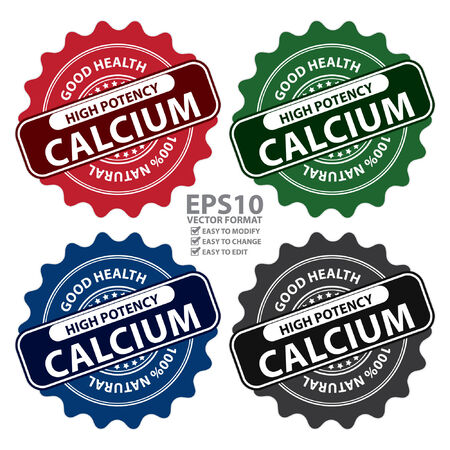 potency: Colorful High Potency Calcium, Good Health, 100 Percent Natural Icon, Label, Sticker, Stamp or Badge Isolated on White Background