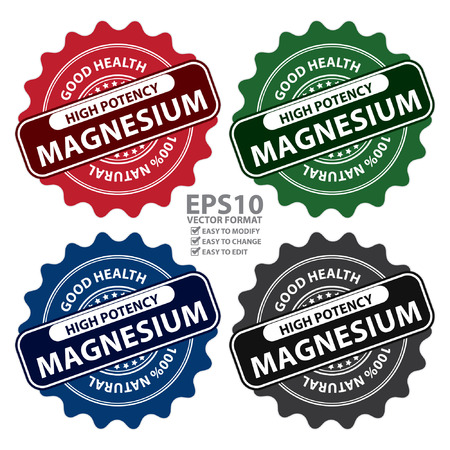 potency: Colorful High Potency Magnesium, Good Health, 100 Percent Natural Icon, Label, Sticker, Stamp or Badge Isolated on White Background