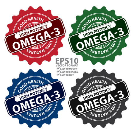omega3: Colorful High Potency Omega-3, Good Health, 100 Percent Natural Icon, Label, Sticker, Stamp or Badge Isolated on White Background
