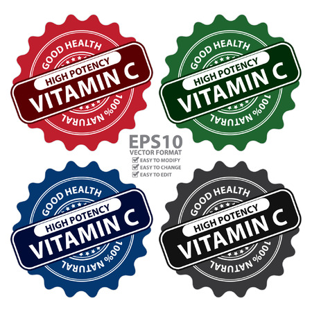 potency: Colorful High Potency Vitamin C, Good Health, 100 Percent Natural Icon, Label, Sticker, Stamp or Badge Isolated on White Background