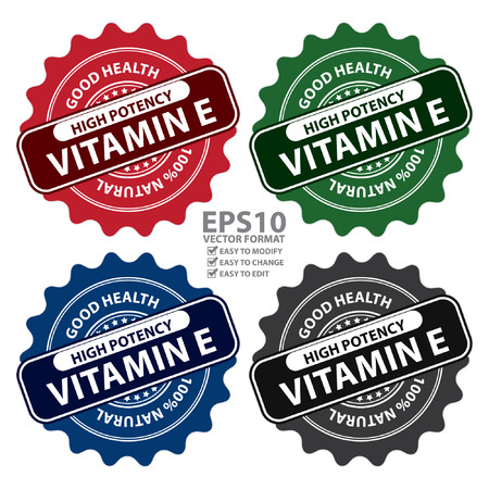 potency: Colorful High Potency Vitamin E, Good Health, 100 Percent Natural Icon, Label, Sticker, Stamp or Badge Isolated on White Background