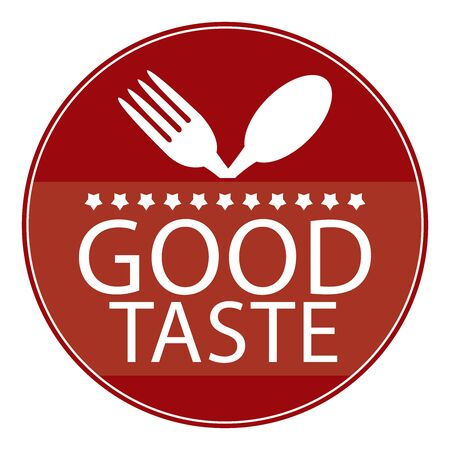 taste: Red Circle Good Taste Icon, Sticker or Label With Fork and Spoon Sign Isolated on White Background