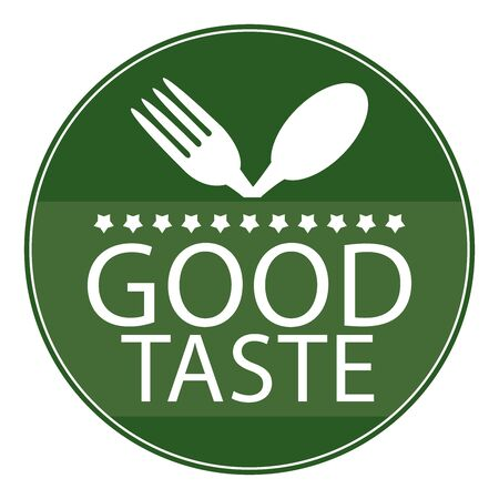taste: Green Circle Good Taste Icon, Sticker or Label With Fork and Spoon Sign Isolated on White Background