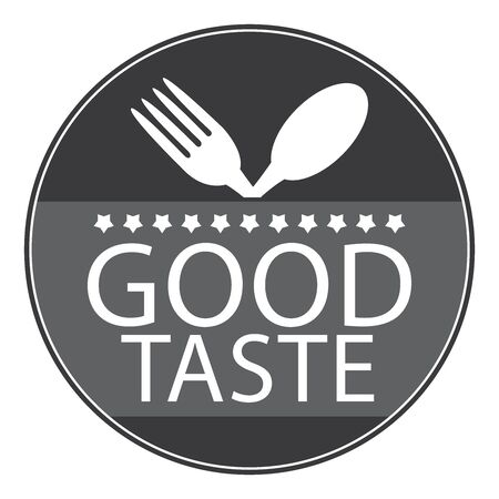 taste: Black Circle Good Taste Icon, Sticker or Label With Fork and Spoon Sign Isolated on White Background