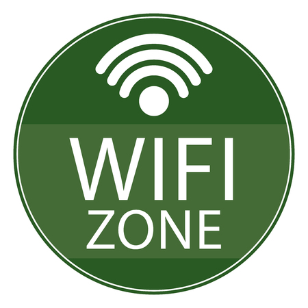 Green Circle Shape Vintage Style Wifi Zone Icon, Button or Label Isolated on White Background