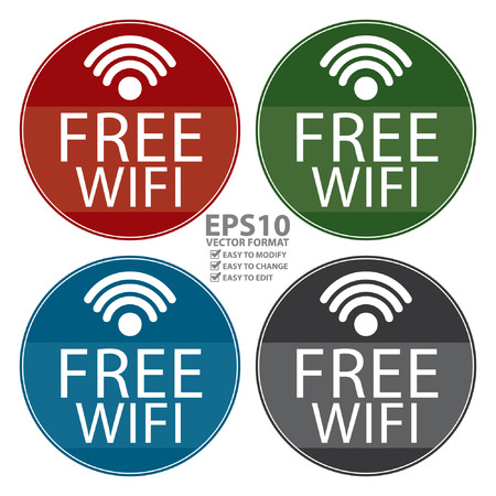 Vector : Circle Shape Vintage Style Free Wifi Icon, Button or Label Isolated on White Background