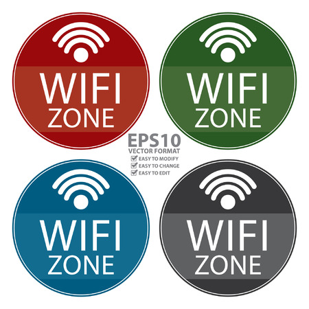 channel surfing: Vector : Circle Shape Vintage Style Wifi Zone Icon, Button or Label Isolated on White Background