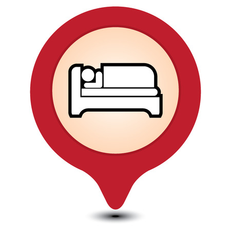 guesthouse: Red Map Pointer With Hotel, Motel, Guesthouse, Accommodation or Bed Icon Isolated on White Background