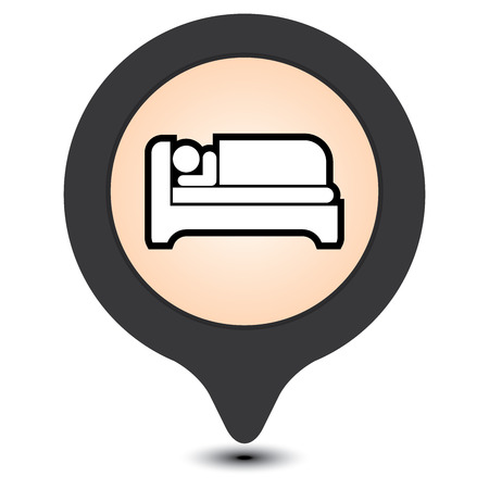 accomodation: Black Map Pointer With Hotel, Motel, Guesthouse, Accommodation or Bed Icon Isolated on White Background