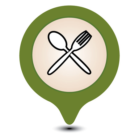 cafeteria: Green Map Pointer With Food Center, Food Court, Cafeteria Service, Canteen or Restaurant Icon Isolated on White Background