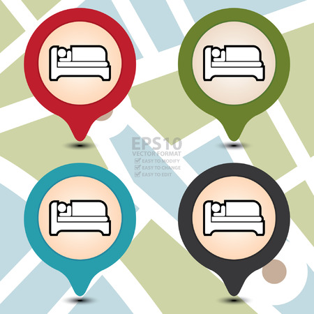 accommodation: Vector : Map Pointer With Hotel, Motel, Guesthouse, Accommodation or Bed Icon Isolated on White Background