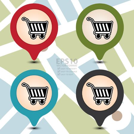 market place: Vector : Colorful Map Pointer With Shopping Cart, Shopping Plaza , Market Place or Bazaar Icon on POI Map Background Illustration
