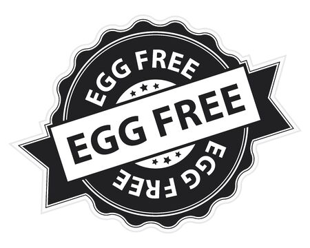 allergic ingredients: Black Egg Free Stamp, Label, Sticker, Icon or Badge Isolated on White Background