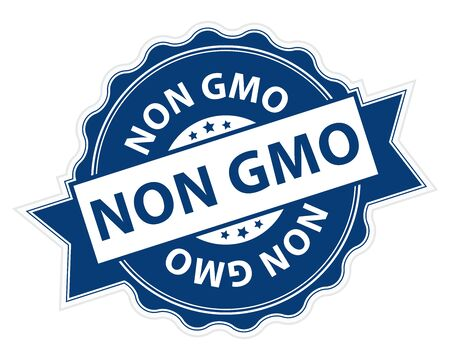 non: Blue Non GMO Stamp, Label, Sticker, Icon or Badge Isolated on White Background