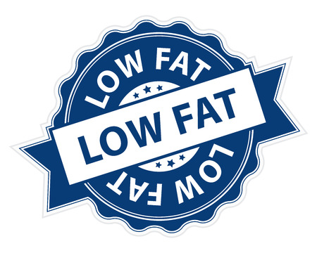 Blue Low Fat Stamp, Label, Sticker, Icon or Badge Isolated on White Background