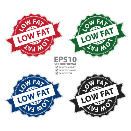 Vector : Low Fat Stamp, Label, Sticker, Icon or Badge Isolated on White Background Ilustrace