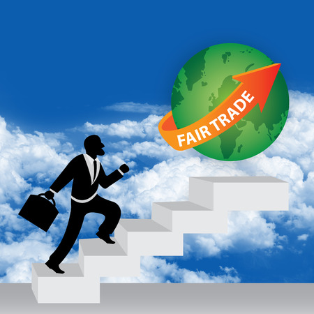 stepping: The Businessman Stepping Up a Stairway to The Green Globe With Orange Fair Trade Arrow in Realistic Blue Sky Background