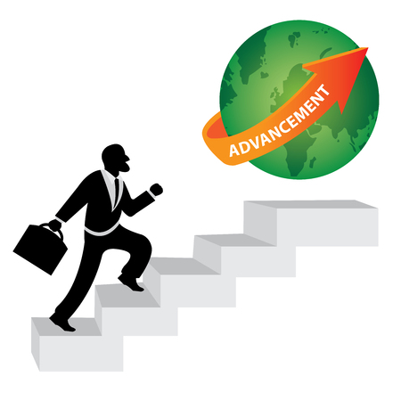 advancement: The Businessman Stepping Up a Stairway to The Green Globe With Orange Advancement Arrow in Realistic Blue Sky Background