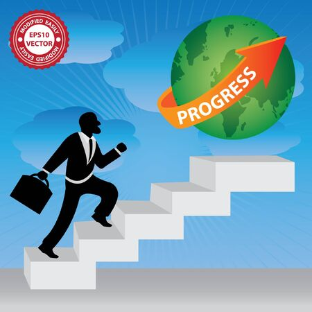 stepping: Vector : The Businessman Stepping Up a Stairway to The Green Globe With Orange Progress Arrow in Blue Sky Background