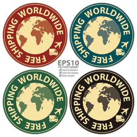 free shipping: Vector : Graphic For Promotional Sale or Marketing Campaign Present By Colorful Vintage Style Free Shipping Worldwide Icon, Badge, Label, Button or Sticker Isolated on White Background