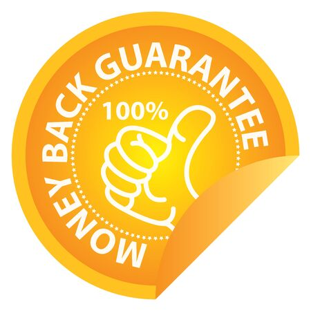 Business or Marketing Material For Promotional Sale or Marketing Campaign Present By Yellow Glossy Style 100 Percent Money Back Guarantee Icon, Badge, Label or Sticker Isolated on White Background Reklamní fotografie