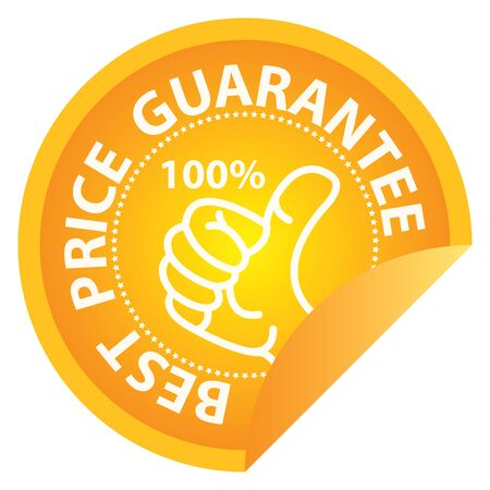 lowest: Business or Marketing Material For Promotional Sale or Marketing Campaign Present By Yellow Glossy Style 100 Percent Best Price Guarantee Icon, Badge, Label or Sticker Isolated on White Background