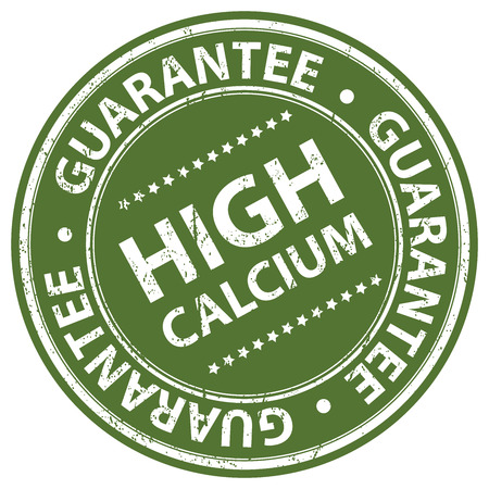 food absorption: Product Information Material, Circle Green High Calcium Guarantee Sticker, Rubber Stamp, Icon, Tag or Label Isolated on White Background
